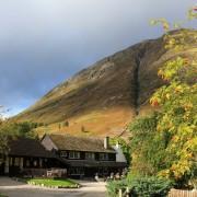 Autumn colours looking towards the inn and Clachaig Gully