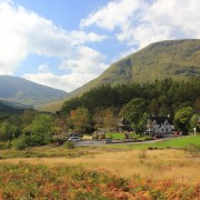 Clachaig Inn and Chalets in late September colours